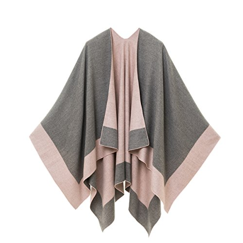 MELIFLUOS DESIGNED IN SPAIN Women's Shawl Wrap Poncho Ruana Cape Cardigan Sweater Open Front for Fall Winter (PC02-3)