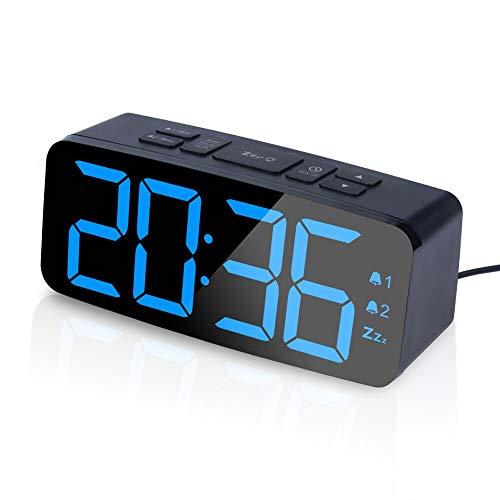 PINGKO Digital Alarm Clock with FM Radio-Large Smart LED Display, Snooze Function,Adjustable Brightness -Small and Light for Travel,Desk or Bedroom (Black)
