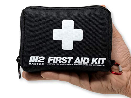 M2 BASICS 150 Piece First Aid Kit w/Compact Bag, Carabiner, Emergency Blanket | Emergency Medical Supply | Full of Supplies for Home, Office, Outdoors, Car, Camping, Travel