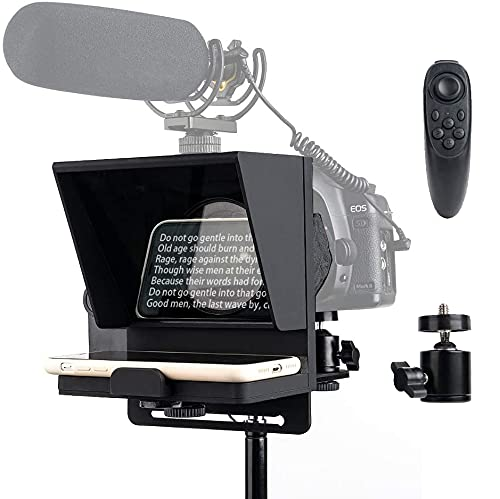 Pergear Mini Portable Adjustable Teleprompter for Smartphone iPhone DSLR Recording, with Remote Control & Tripod Ball Head