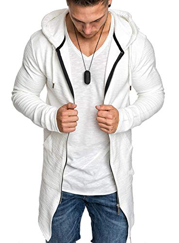 Men Swallowtail Cardigan Windbreaker Solid Long Sleeve Hooded Jacket Zipper Long Trenchcoat (White, XL)