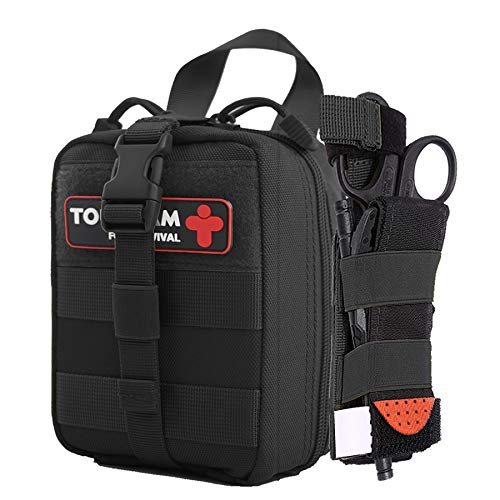 TOUROAM IFAK Trauma First Aid Kit, Micro Rip Away Molle Med Pouch, Fully Stocked Small Tactical Medical Bag with Tourniquet for Military Camping Hiking
