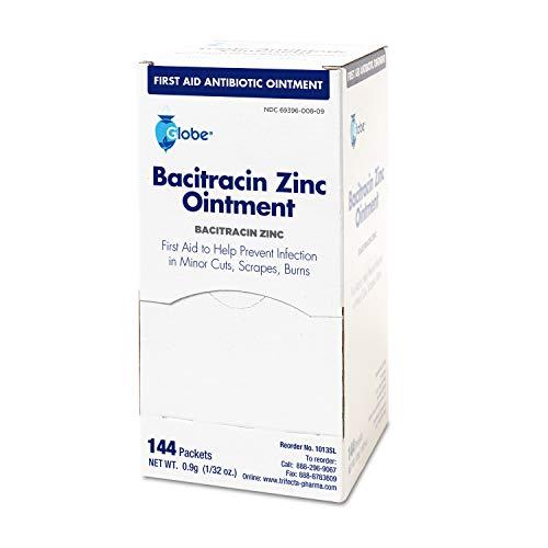 Globe Bacitracin Zinc Ointment - Cut, Scrape, and Burn Cream - Antibiotic First Aid Treatment - 1 Box of 144 Single Use Packets (0.9 gr per Packet)