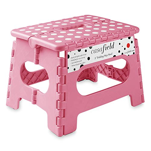 Casafield 9' Folding Step Stool with Handle, Pink - Portable Collapsible Small Plastic Foot Stool for Kids and Adults - Use in The Kitchen, Bathroom and Bedroom