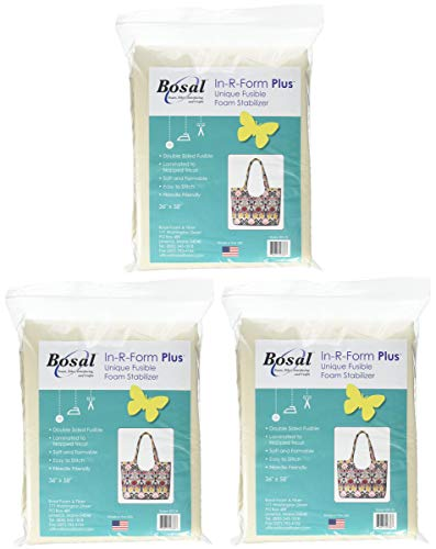Bosal 493-36 In-R-Form Plus Unique Fusible Foam Stabilizer-36'X58', Pack of 3