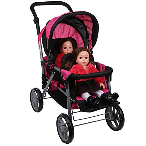 Mommy & Me Twin Doll Stroller Foldable Double Back to Back Doll Pram with Basket, Adjustable Handle, and Free Carriage Bag Hot Pink & Black - 9386