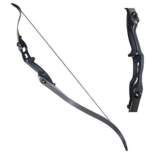 TOPARCHERY Archery 56' Takedown Hunting 50lbs Recurve Bow Metal Riser Right Hand Black Longbow