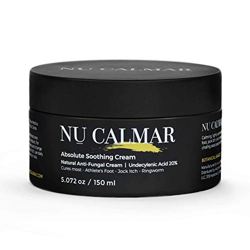 NU CALMAR Antifungal Cream, Cures most Athlete's Foot, Jock Itch and Ringworm, Undecylenic Acid 20% and Natural Oils, Extra Strength, Fast Treatment, 5.072 ounces / 150ml