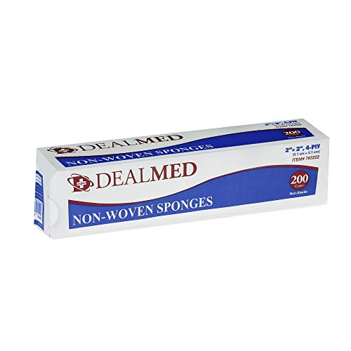 Dealmed 2' x 2' Non-Woven Sponges, All-Purpose Sterile Gauze Pads, Highly Absorbent Dental Gauze, Non-Sterile, 4-Ply, 200 Count (Pack of 1)