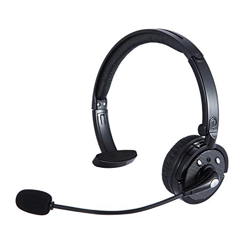 Trucker Bluetooth Headset Wireless Headset with Mic Over The Head Headset with Noise Cancelling Sound On Ear Car Earphones Office Earpiece for Cell Phone Bluetooth V2.1 Compatible for iOS & Android