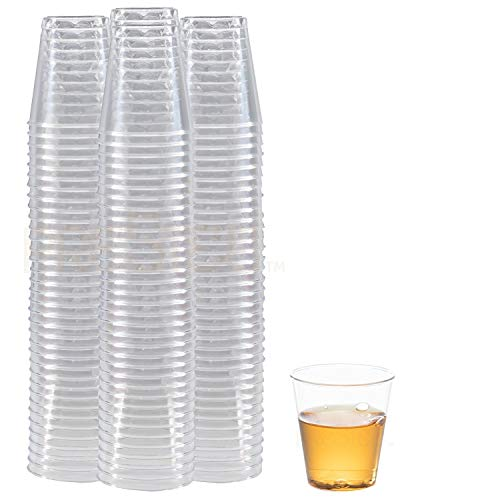 DRINKET CLEAR PLASTIC SHOT GLASSES 1.5 Oz - Disposable Shot Glasses Bulk - Wine Tasting Cups - Small Plastic Tumbler - Shooter, Whiskey Mini Shot Cups – Hard small plastic cups bulk - 100 Pack.