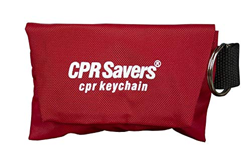 CPR Savers & First Aid Supply CPR Face Shield Mask Keychain Kit with Gloves for CPR Training and Rescue (1, Red)