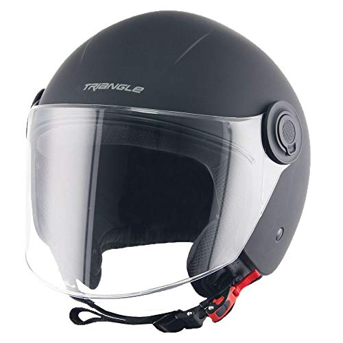 HYDRA Helmets Track Solid Open Face Motorcycle Helmet with Sunshield (Large,Matte Black)