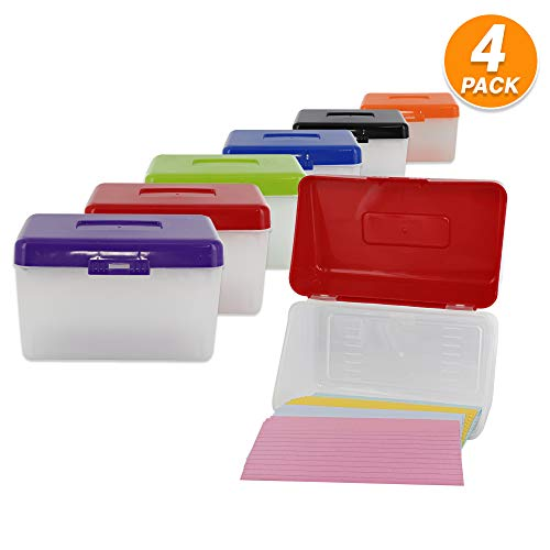 3' X 5' Index Card Case Holds Upto 250 Cards Ideal for Filing Notes, Addresses & Recipes – (Pack of 4) - by Emraw
