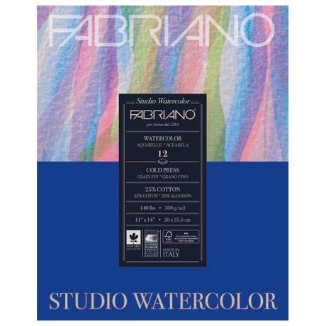 Fabriano 140 Lb (300 gsm) Cold Press Watercolor Pad 11 x 14 inch 12 sheets