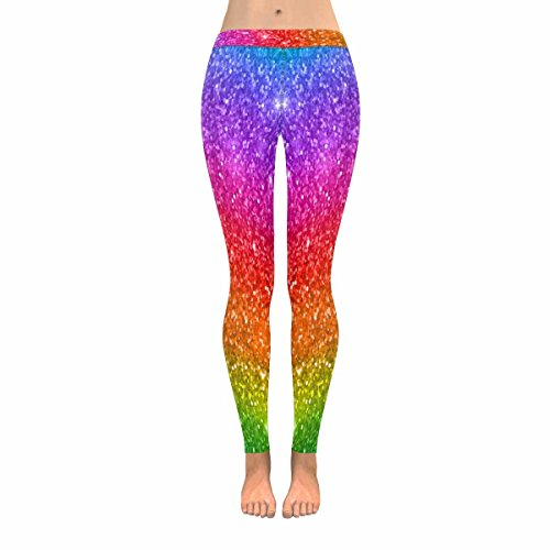 INTERESTPRINT Multicolored Rainbow Glitter Sparkling Women's Stretchy Capri Leggings Yoga Running Pant L