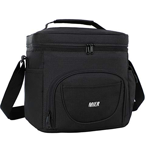 MIER Men's Lunch Cooler Large Insulated Lunch Box Bag Meal Prep Lunchbox Coolers for Adult Men to Work Travel with Pockets and Shoulder Strap, 24 Can (15 Liter), Black