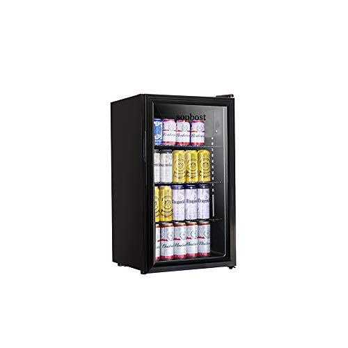 Beverage Refrigerator and Cooler - 3.28 Cubic Feet Mini Fridge for Bedroom with Grass Door, Small Beer Refrigerator for Soda or Wine, 120 Can Small Fridge for Home or Bar, with 3 Adjustable Removable Shelf (3.28 Cu.Ft)