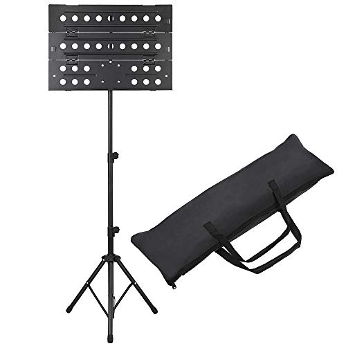Sheet Music Stand Collapsible Orchestra Portable, Professional Folding Music Stand with Carrying Bag, Height and Angle Adjustable Metal Music Sheet Stand Suitable for Instrumental Performance