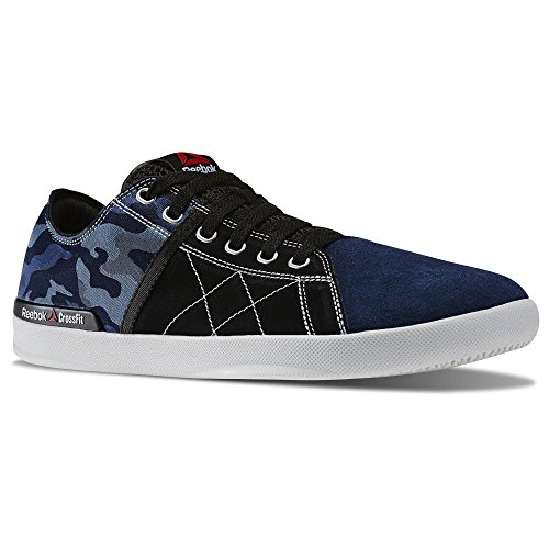 Reebok Mens Crossfit Lite Lo TR CMO Camo Fitness Shoe Black Faux Indigo Blue Slate Vital Green (8.5)