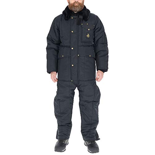 RefrigiWear Men's Iron-Tuff Insulated Coveralls with Hood -50F Extreme Cold Suit (Navy Blue, 3XL)