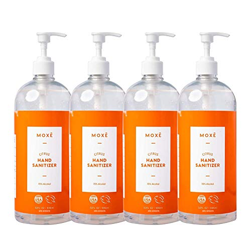 MOXĒ Citrus Hand Sanitizer Gel 70% Ethyl Alcohol - Made in America, Dispensing Pump Refill, Non-drying, Non-sticky, Gentle with Aloe Vera & Vitamin E, Fights Germs & Bacteria - 32 ounces x 4 bottles