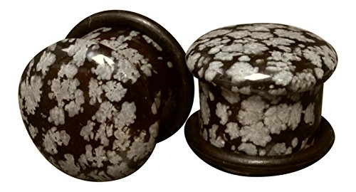 Lobal Domination Pair Single Flare Snowflake Obsidian Stone Plugs Gauges Earlets Organic Pierced Body Jewelry (9/16' (14mm))