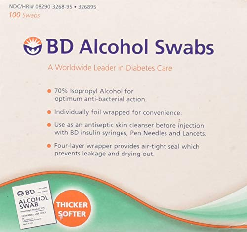 BD Alcohol Swabs 100 Each (Pack of 12)
