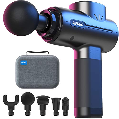 Powerful Portable Massage Gun, RENPHO Deep Tissue Percussion Massage Gun for Muscle Back Foot Pain Relief After Gym, Handheld Massager Machine with 3200rpm Motor 2500mAh Battery Type-C Charging
