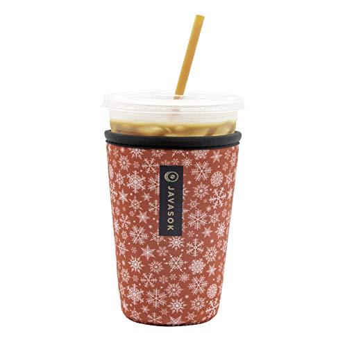 Java Sok Reusable Neoprene Insulator Sleeve for Iced Coffee Cups (Red Snowflake, Medium, 24-28oz)
