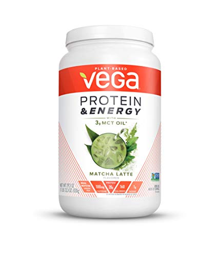 Vega Protein & Energy, Matcha Latte, Plant Based Coffee Protein Powder - Vegan Protein Powder, Keto-Friendly, MCT Oil, Gluten Free, Dairy Free, Soy Free, Non GMO (24 Servings, 1lb 13.3oz)