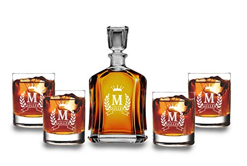 Customized Whiskey Decanter Set - Monogrammed Decanter- Decanter and 4 Glasses Decanter Set - Custom Engraved Monogrammed with Shield Crown Design - 9 Designs Option & Set Options