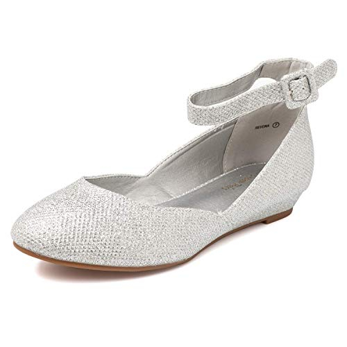 DREAM PAIRS Women's Revona Silver Glitter Low Wedge Ankle Strap Flats Shoes - 11 B(M) US