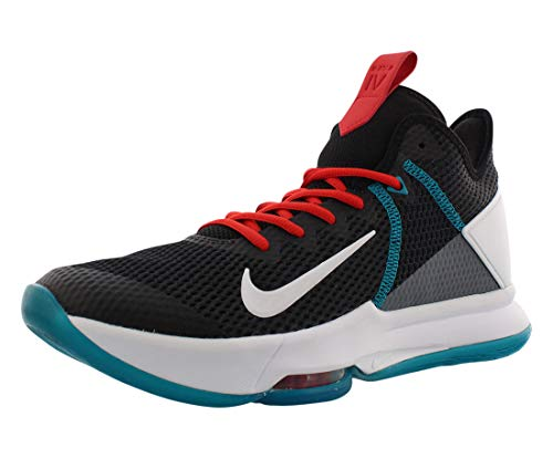 Nike Men's Lebron Witness IV Basketball Shoe, Black/White/Chile Red/Glass Blue/Dk Smoke Grey/Univ Red, 9.5 UK