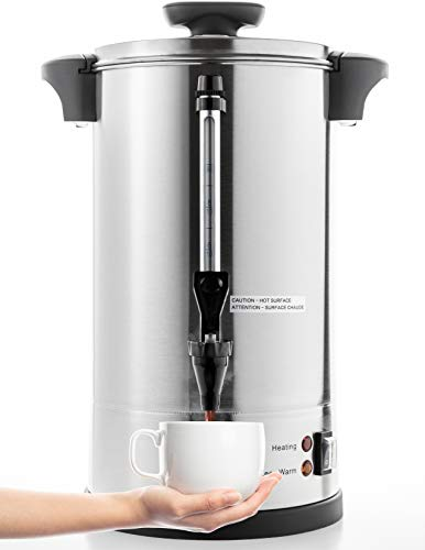 SYBO RCM016S-8B Commercial Grade Stainless Steel Percolate Coffee Maker Hot Water Urn for Catering, 55-Cup 8 L, Metallic