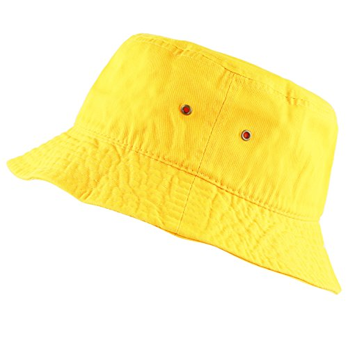 The Hat Depot 300N Unisex 100% Cotton Packable Summer Travel Bucket Hat (S/M, Yellow)