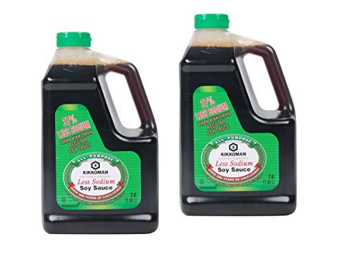 Kikkoman 38% Less Sodium Regular Soy Sauce Traditional Brewed 2 - 2qt./1.89L each