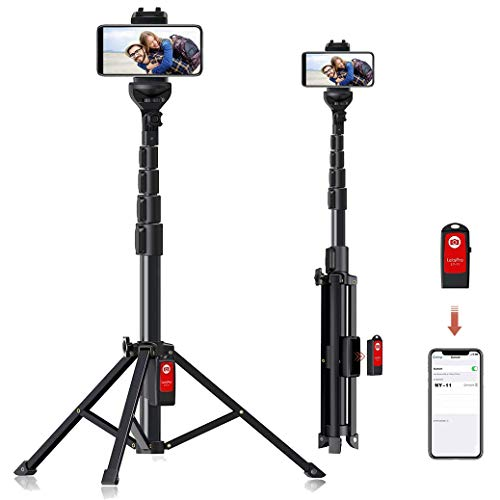 Selfie Stick Tripod, 59' All-in-One Extendable Portable Bluetooth Selfie Sticks Phone Tripods Compatible with iPhone 11 11 pro Xs Max Xr X 8Plus 7, Galaxy S10+ S9 S8 and Digital Cameras, Lightweight