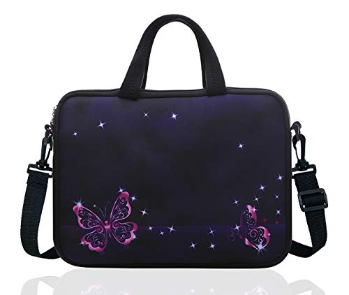 14 Inch Neoprene Laptop Sleeve Case Bag with shoulder strap For 14' Notebook/MacBook/Ultrabook/Chromebook (Red butterfly)