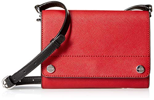 Calvin Klein womens Calvin Klein Flap Saffiano Leather Flap Over Small Crossbody, red/silver metallic, One Size
