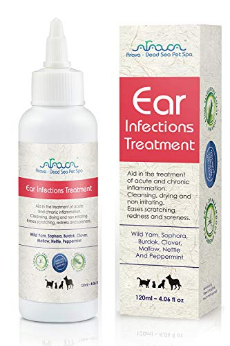 Arava Natural Ear Infection Treatment - for Cats & Dogs - Pet Otic Ear Care Solution - Antibacterial Antifungal Anti Yeast Anti Itch Effective Ear Cleaner - First Aid in Acute & Chronic Inflammations