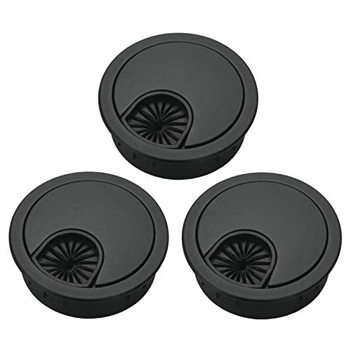 Bosidetool 3 Pcs Metal Cable Grommet, Zinc Alloy Desk Table Grommet Cable Cord Hole Cover for Home and Office, Fits 2.08 inch Hole (53mm Black)
