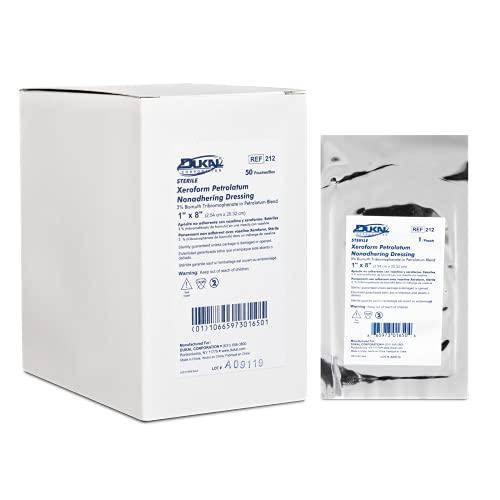 Dukal Xeroform Petrolatum Gauze, Sterile, 1' W x 8' L (Box of 50), 212