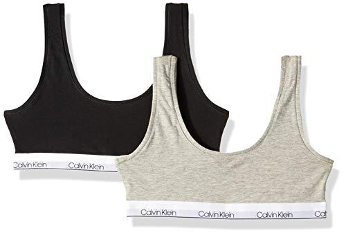 Calvin Klein Big Girls' Modern Cotton Bralette, 2 Pack-Heather Grey, Black,M