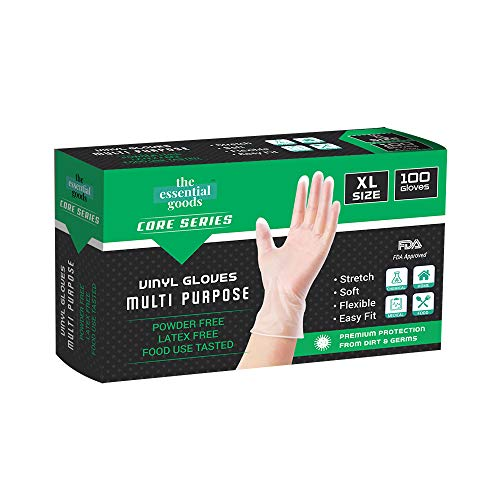 Superfit Disposable Vinyl Gloves  100 Count   Non Latex Powder Free   Ultra Strong Non Sterile   For Home, Office, Kitchen, Cooking, Everyday (Medium)