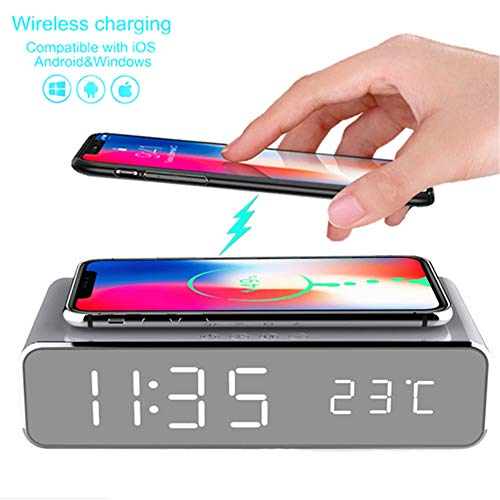 LED Smart Alarm Clock Time Temperature Display Wireless Charging Pad Dock, 10W Qi-Certified for iPhone 11, 11 Pro Max, XR, Xs Max, XS, X, 8, 8 Plus, Galaxy S10 S9 S8, Note 10 Note 9 and More (Silver)