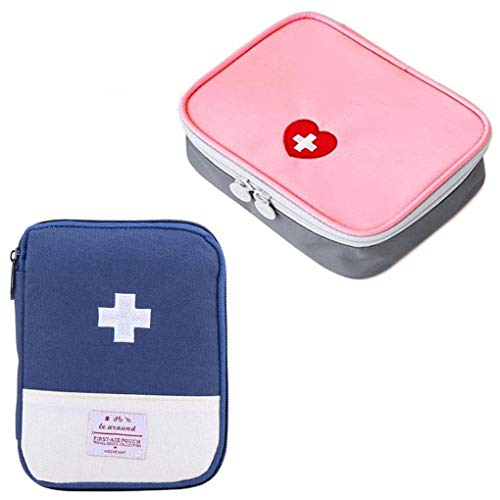 iMapo 2 Pack Travel Mini First Aid Pouch Multifunction Emergency Medicine Storage Bag Pills Drugs Package Container for Outdoor Activities Camping Hiking (Bag ONLY)