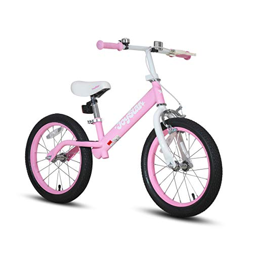 JOYSTAR 16' Balance Bike for Big Kids 5, 6, 7, 8 and 9 Years Old with Rubber Tire and Adjustable seat, Pink
