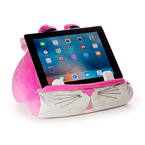 Cuddly Readers Book Stand Cushion Support iPad Tablet eReader Kindle Smartphone Soft Lap Pillow Holder Reading Home Bed Rest Travel Gift Idea Comfort & Stability - Kiki Kitty