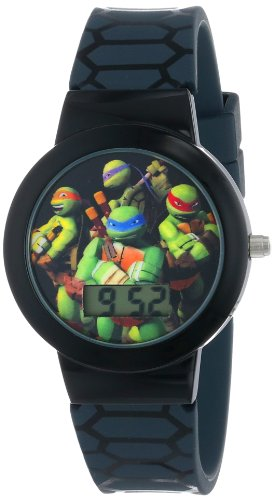 Ninja Turtles Kids' Digital Watch with Black Bezel, Patterned Black Strap - Official TMNT Characters on The Dial, Light Weight, Safe for Children - Model: TMN4025